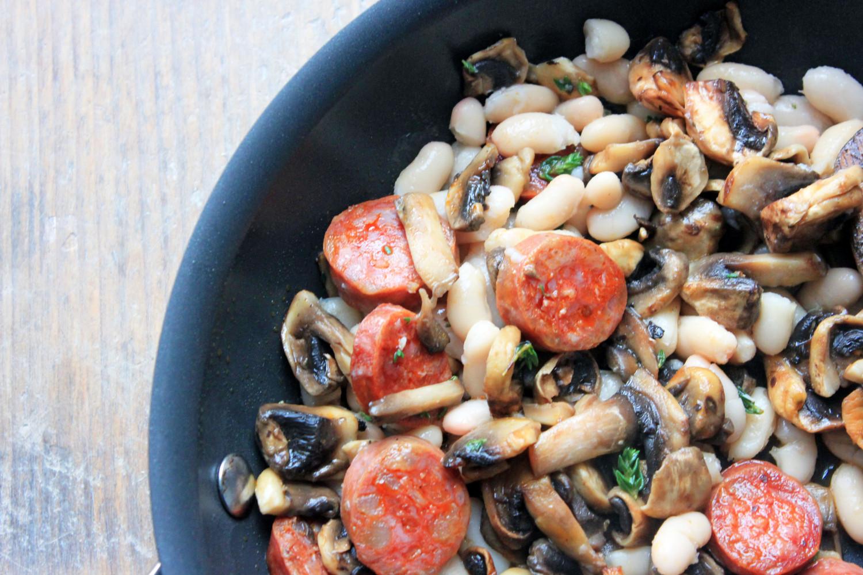 Chorizo, Cannellini Bean and Mushroom Bruschetta