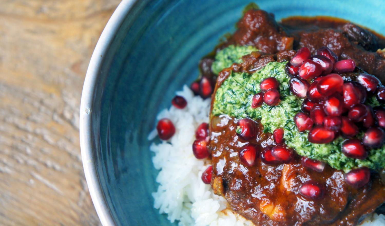 Lamb Tagine Recipe with Pomegranate and Mint Pesto | Tess Ward