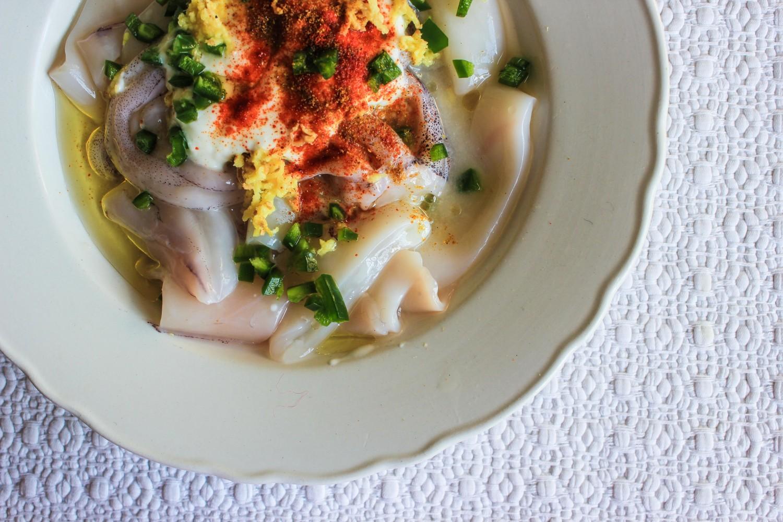 Tandoori Squid and Mung Bean Kedgeree