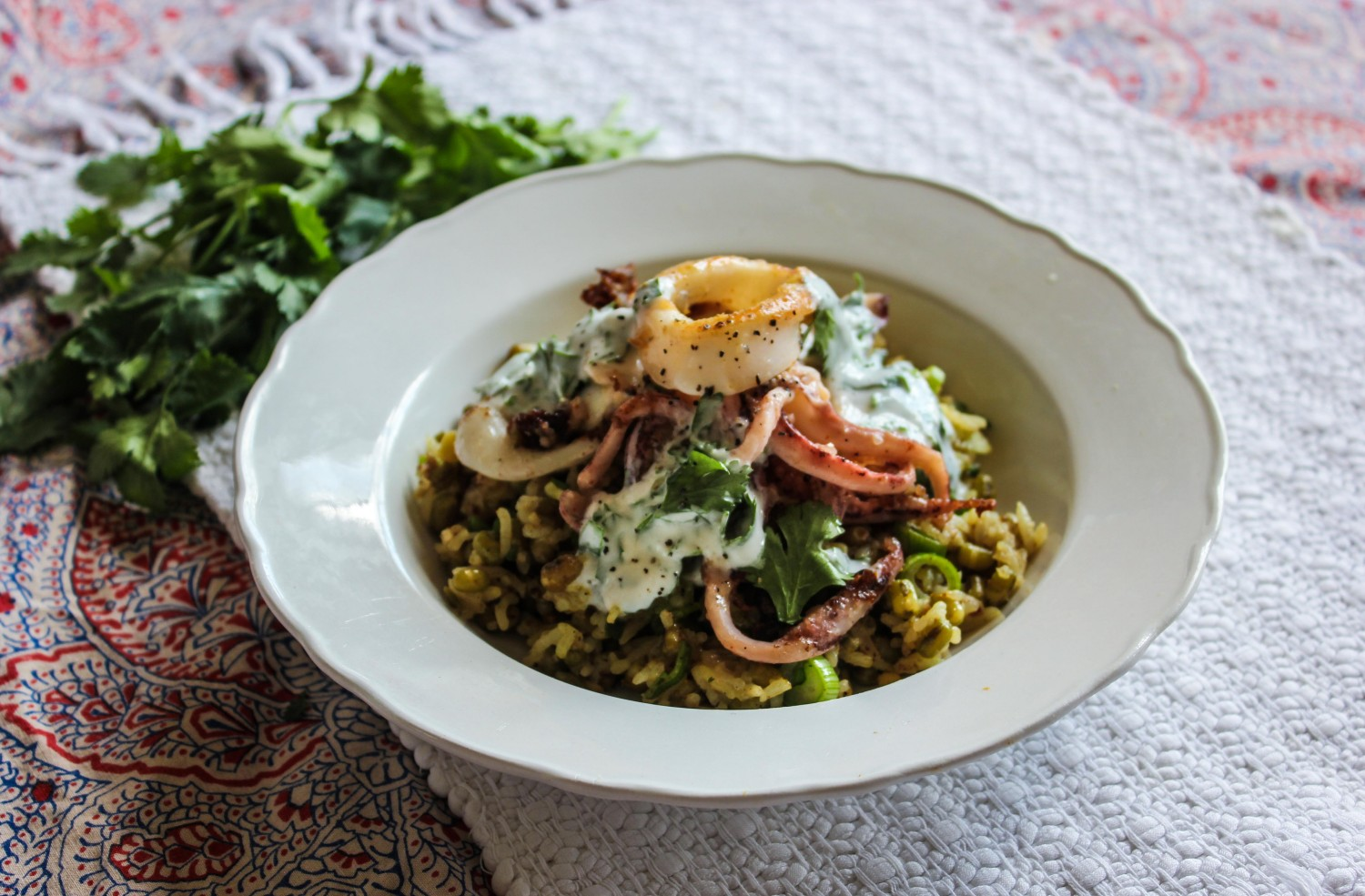 Tandoori Squid and Mung Bean Kedgeree