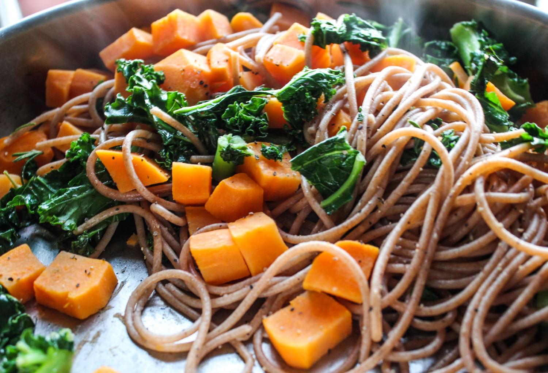 Sweet Potato, Kale and Pomegranate Spelt Spaghetti Bowl