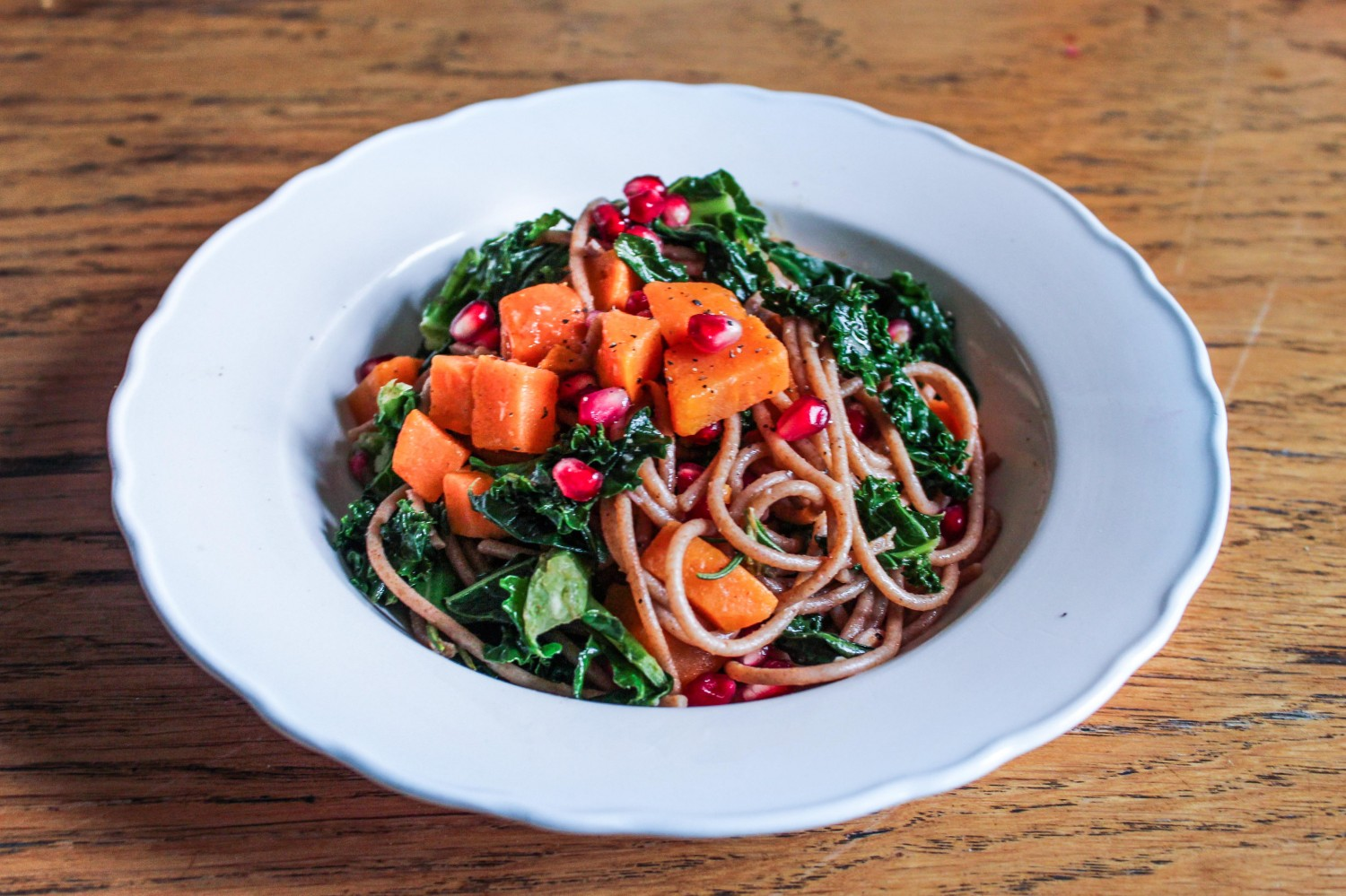 Sweet Potato, Kale and Pomegranate Spelt Spaghetti Bowl - The YES Chef