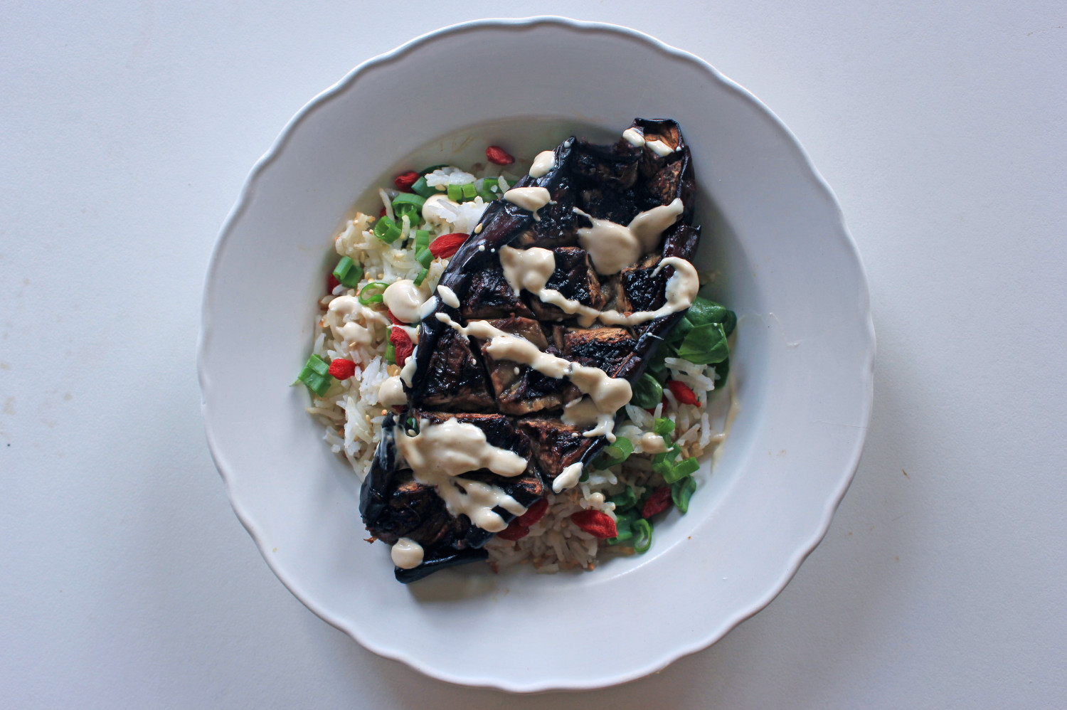 Soy Marinated Aubergine and Goji Rice Bowl