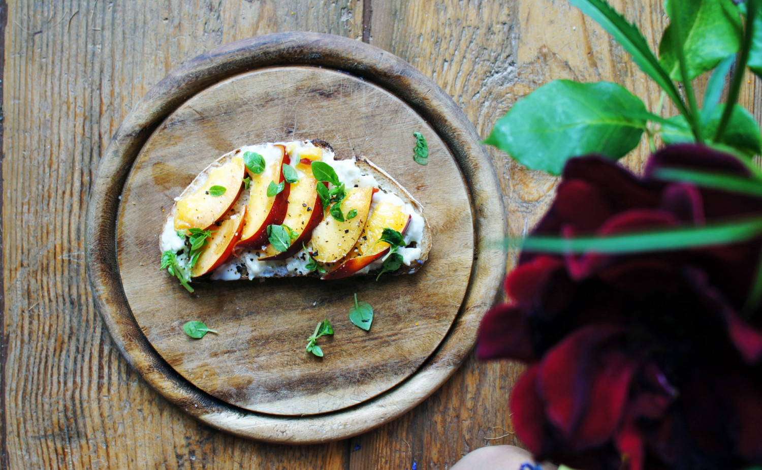 Nectarine and Goats Cheese Tartine with Basil