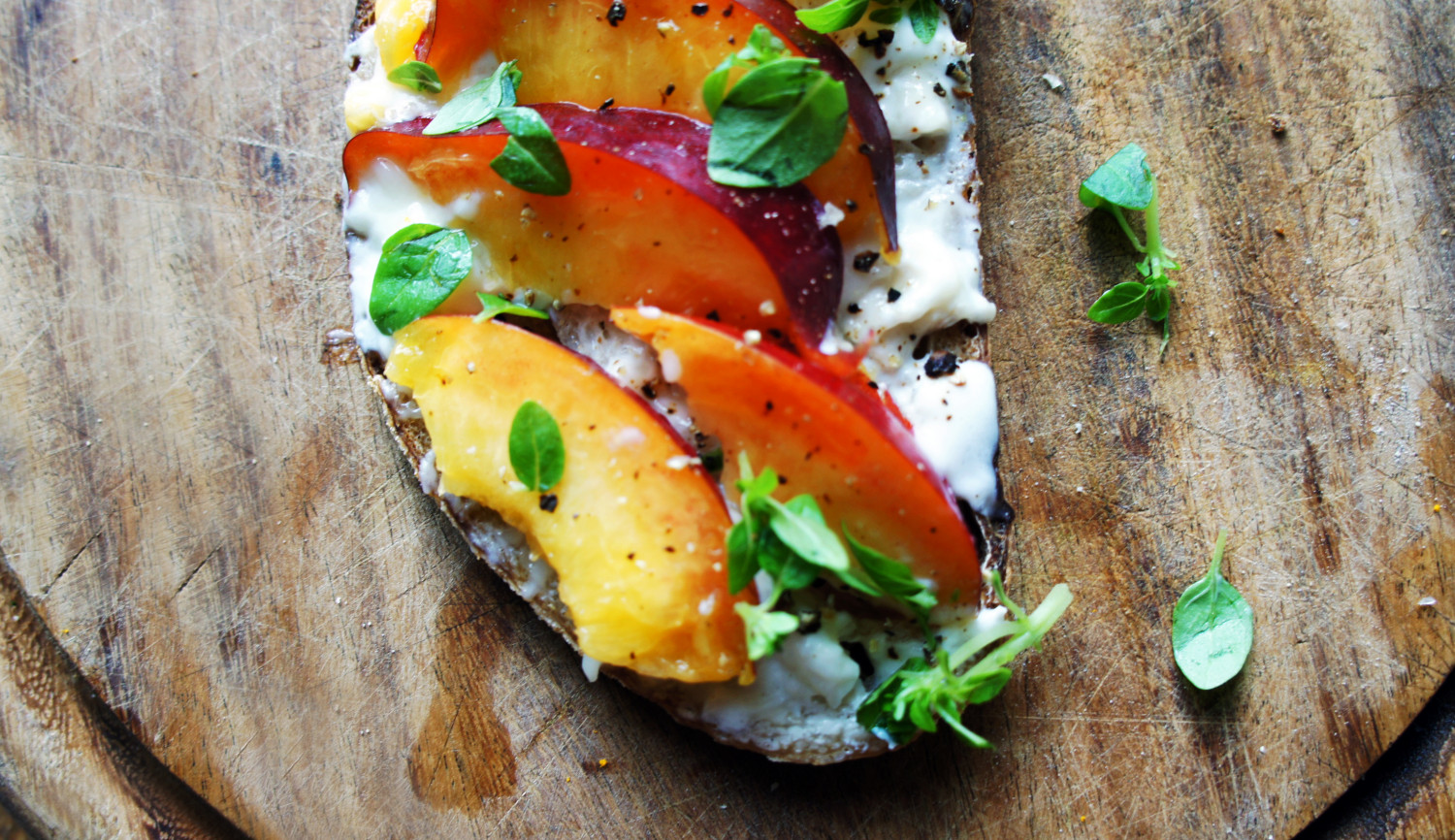 Nectarine and Goats Cheese Tartine with Basil | Tess Ward