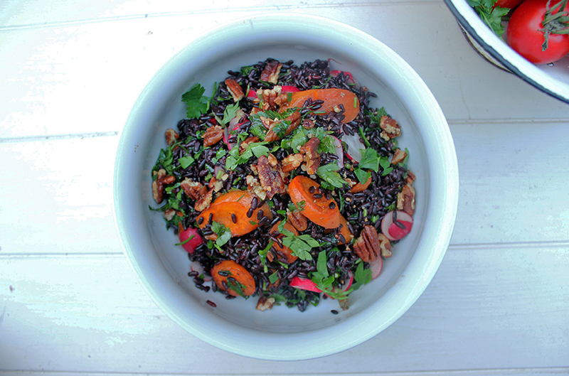 IMG_2029Ghoulish Recipe Black Rice and Roasted Carrot Salad with Candied Pecans - Tess Ward Chef and Food Writer