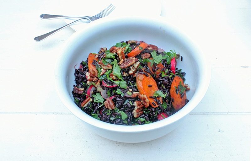 Ghoulish Recipe Black Rice and Roasted Carrot Salad with Candied Pecans - Tess Ward Chef and Food Writer