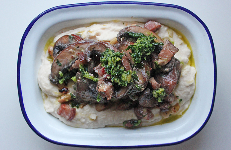 Pancetta and Magic Mushroom Ragout and Tahini Mash