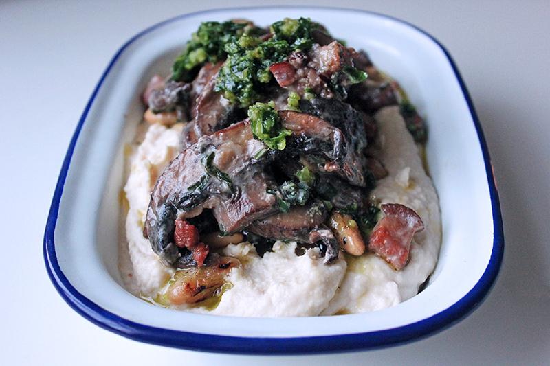 Pancetta and Magic Mushroom Ragout and Tahini Mash