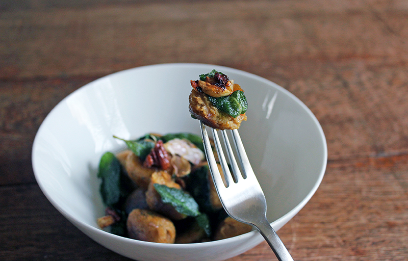 Squash Dumplings with Candied Pecans and Sage Chips Tess Ward Healthy chef and food writer