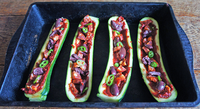 Courgette Pizza Boats with Chorizo and Chilli