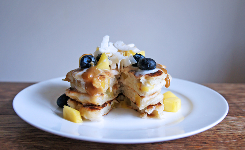 Fluffy Mango Pancakes with Coconut Cream Sauce