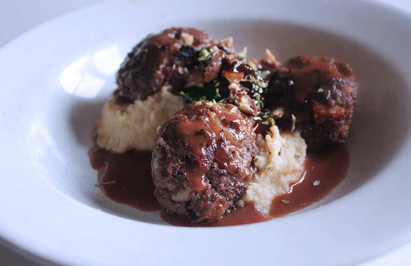 Venison and Confit Onion Rissoles with Artichoke Mash