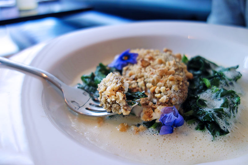 London Eating: Lunching like Cavewomen at Pure Taste (Paleo), Notting Hill - Tess Ward - Halibut and dukkha
