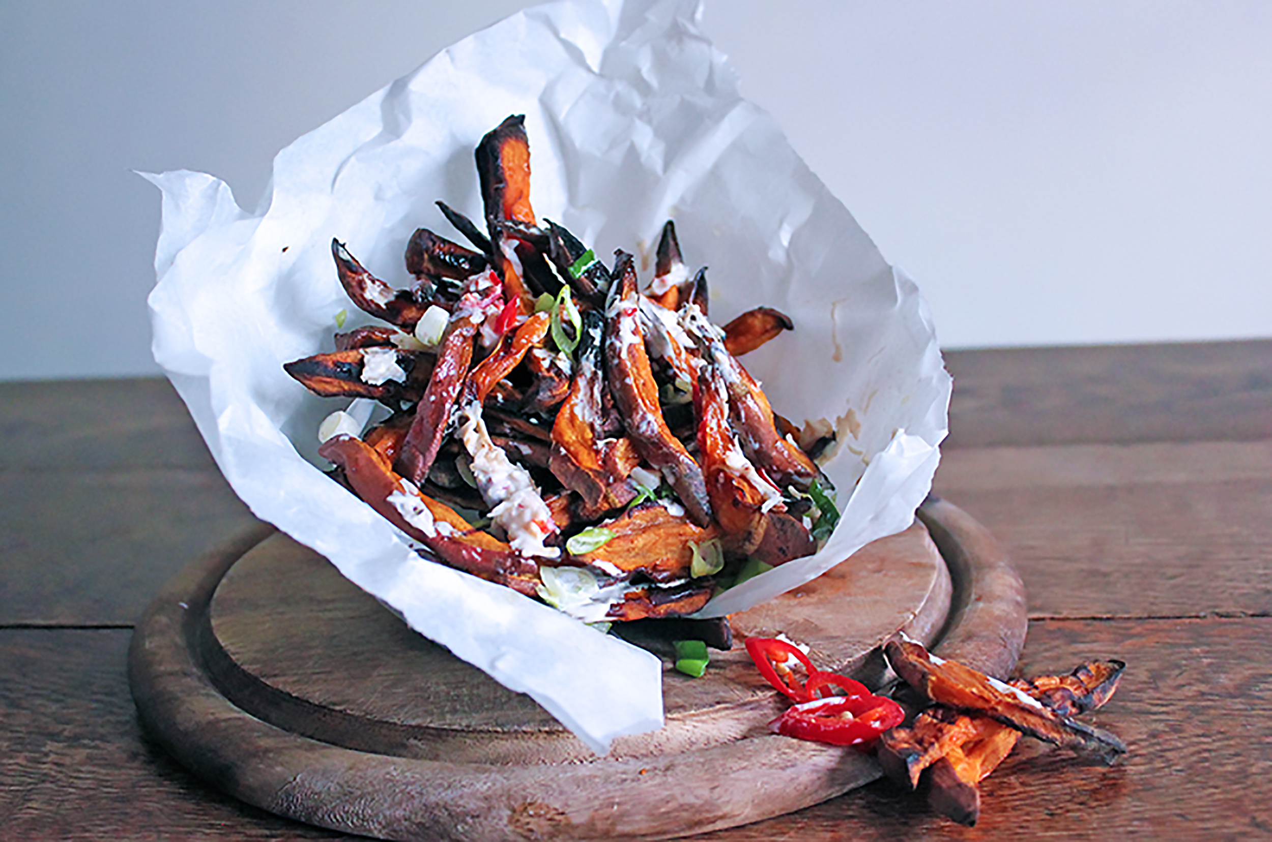 Sweet Potato Fries with and Chilli Crab Drizzle