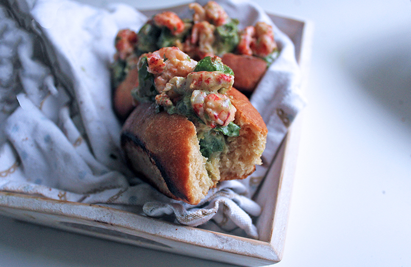 Valentines Crayfish and Avocado Brioche Rolls (made with love)