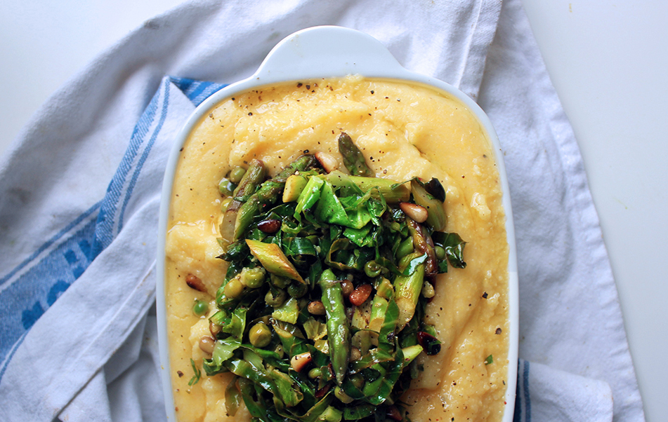 Easy Cheesey Spring Green Polenta