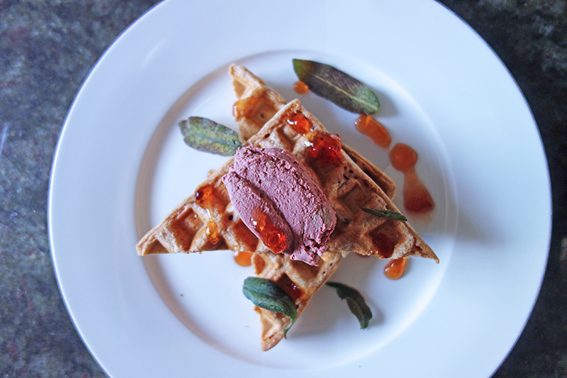 Waffles with Chicken Liver Pâté and Sage Chips