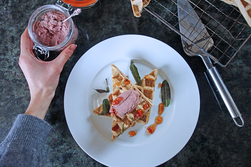 Waffles with Chicken Liver Pâté and Sage Chips, Tess Ward, Easy, Fast, Delicious, Recipe