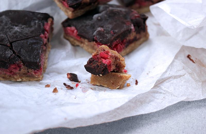 Body-loving Chocolate and Raspberry Fudge Bars, Healthy, Delicious, Tess Ward, Recipe, Nutritious, Easy, Speedy