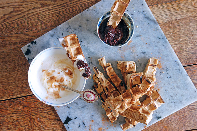 Yoghurt n Rye Waffle Dippers with Nutritious Nutella, healthy, chocolate