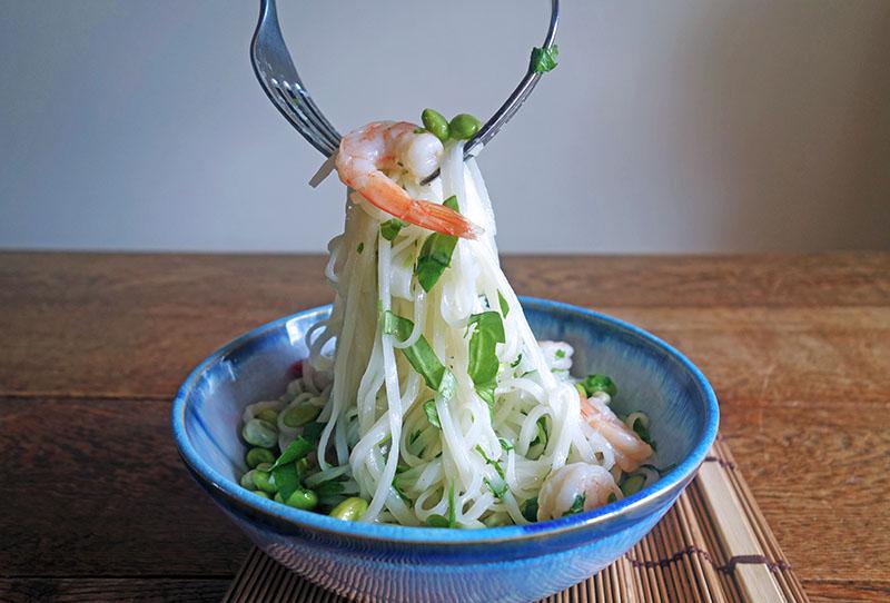 Prawn Noodle Salad with Yuzu Wasabi Dressing , Tess Ward, Healthy, low fat, Diet, rice, gluten free, noodles, takeaway, prawn, Recipe