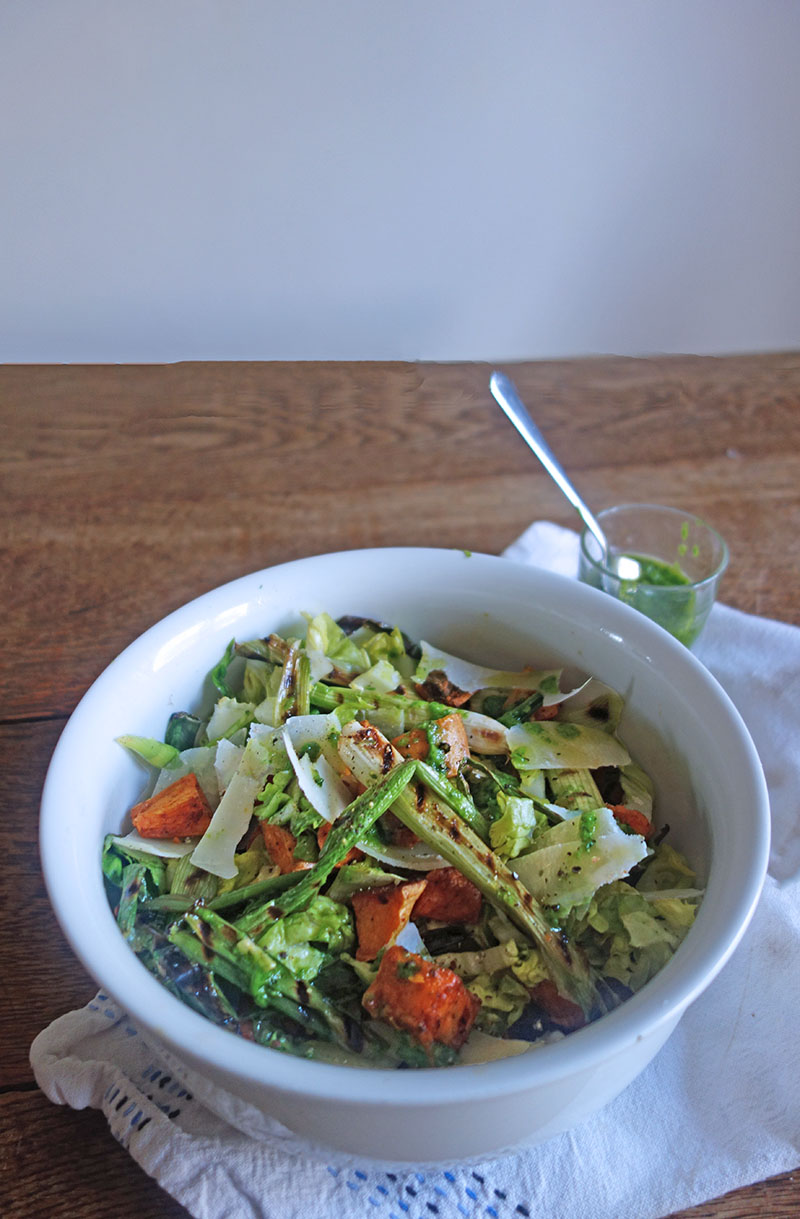 Roasted Sweet Potato, Salad, Charred Spring Onions, Herb, Dressing, Tess Ward, Best, Diet, easy, healthy