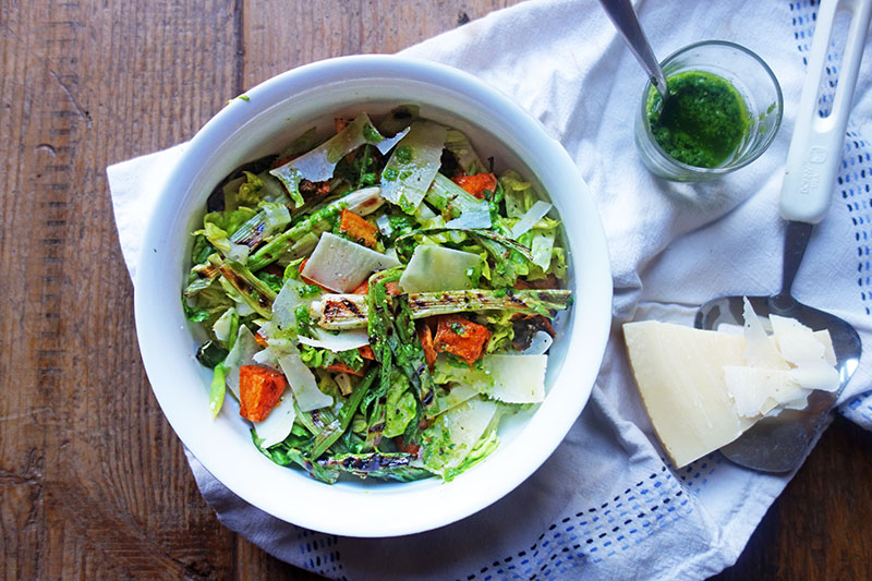 Roasted Sweet Potato Salad with Charred Spring Onions and Herb Dressing