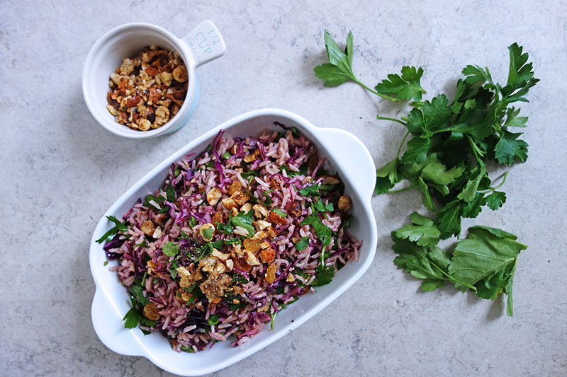 Red Cabbage Rice Salad with Crumbed Hazelnuts, Tess Ward, Recipe, Healthy, Easy, salad,