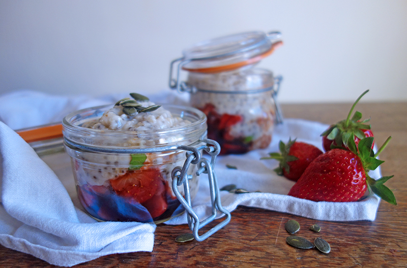 Power Porridge with Balsamic and Basil Strawberries