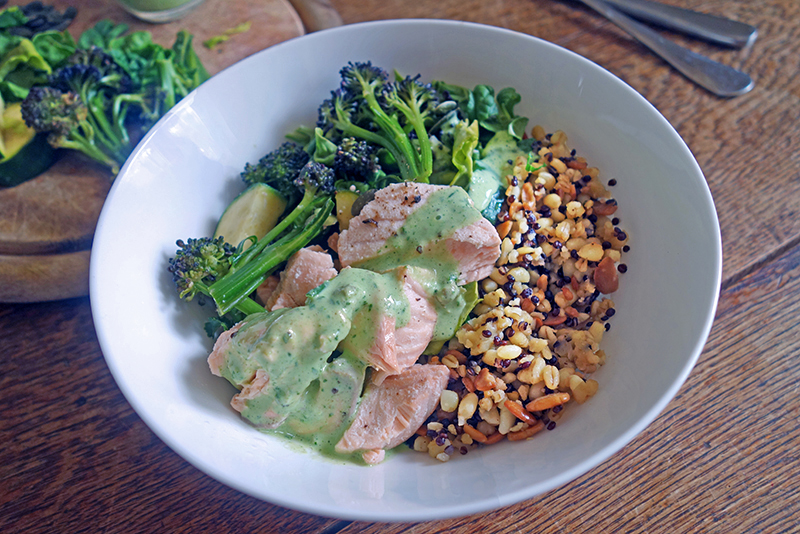 Healthy, Poached, Salmon, Grains Bowl Herb Yoghurt,  Easy, Delicious, Antioxidants