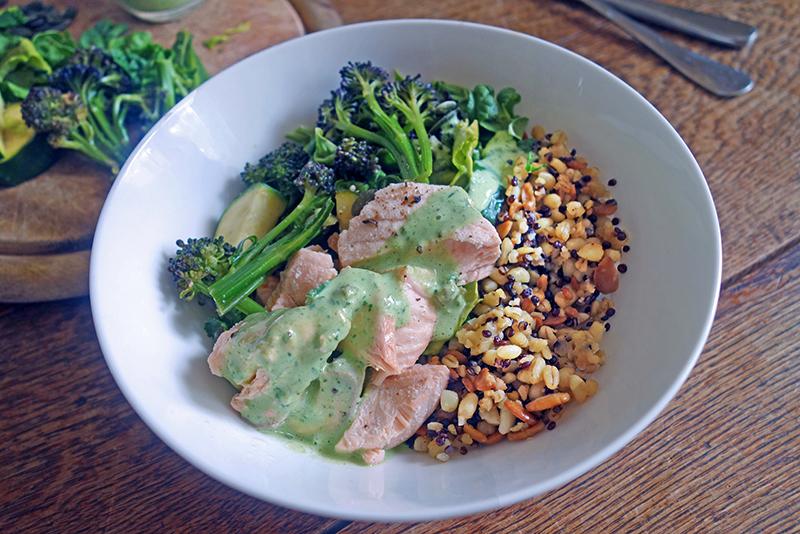 Healthy, Poached, Salmon, Grains Bowl Herb Yoghurt,  Easy, Delicious, Antioxidants