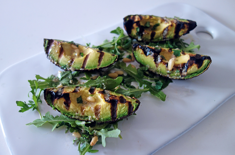 Char grilled Avocado with Pine Nut Dressing