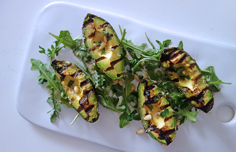 Char grilled Avocado with Pine Nut Dressing , Tess Ward, Healthy