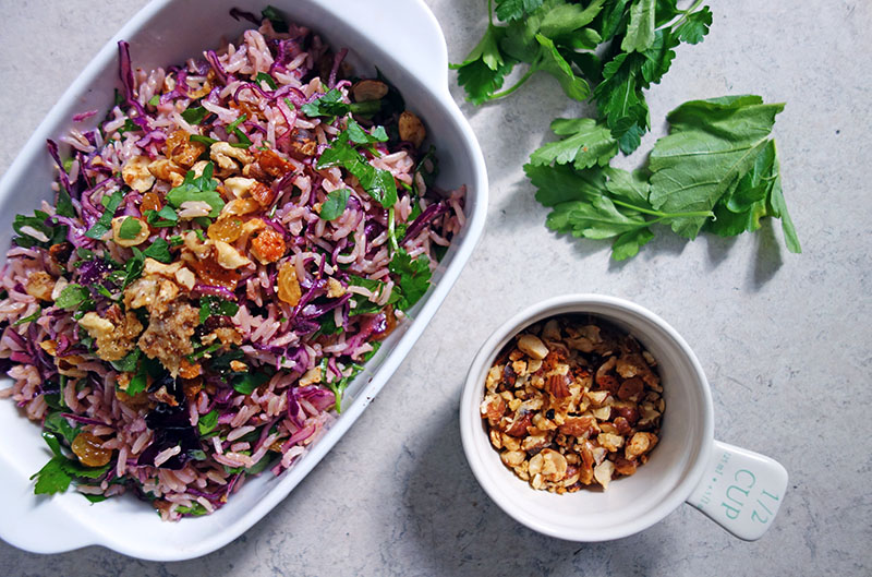 Red Cabbage Rice Salad with Cheese-crumbed Hazelnuts