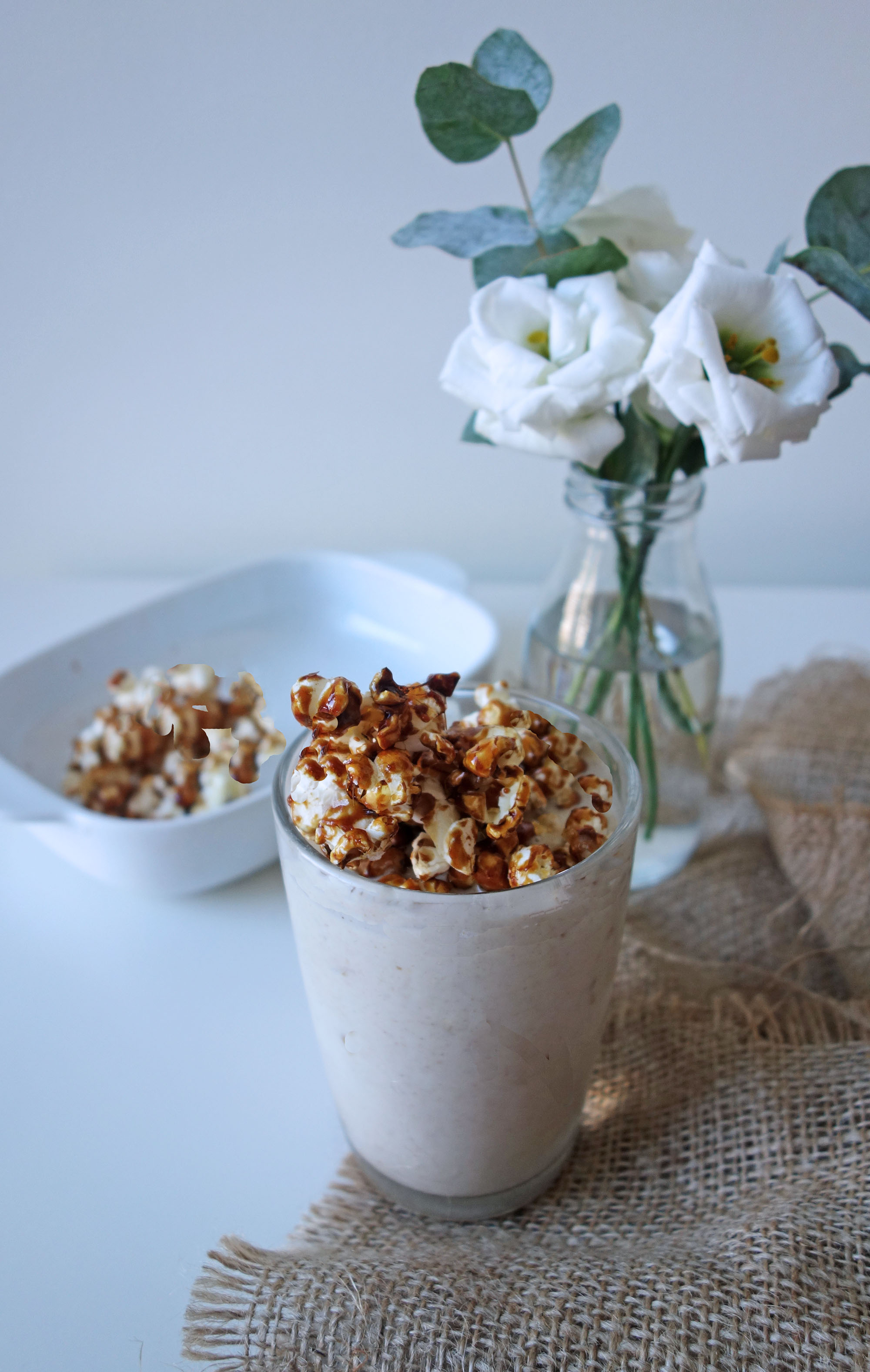 Ginger Salted-Caramel Popcorn Almond Shake Recipe, Tess Ward, Healthy, Milkshake