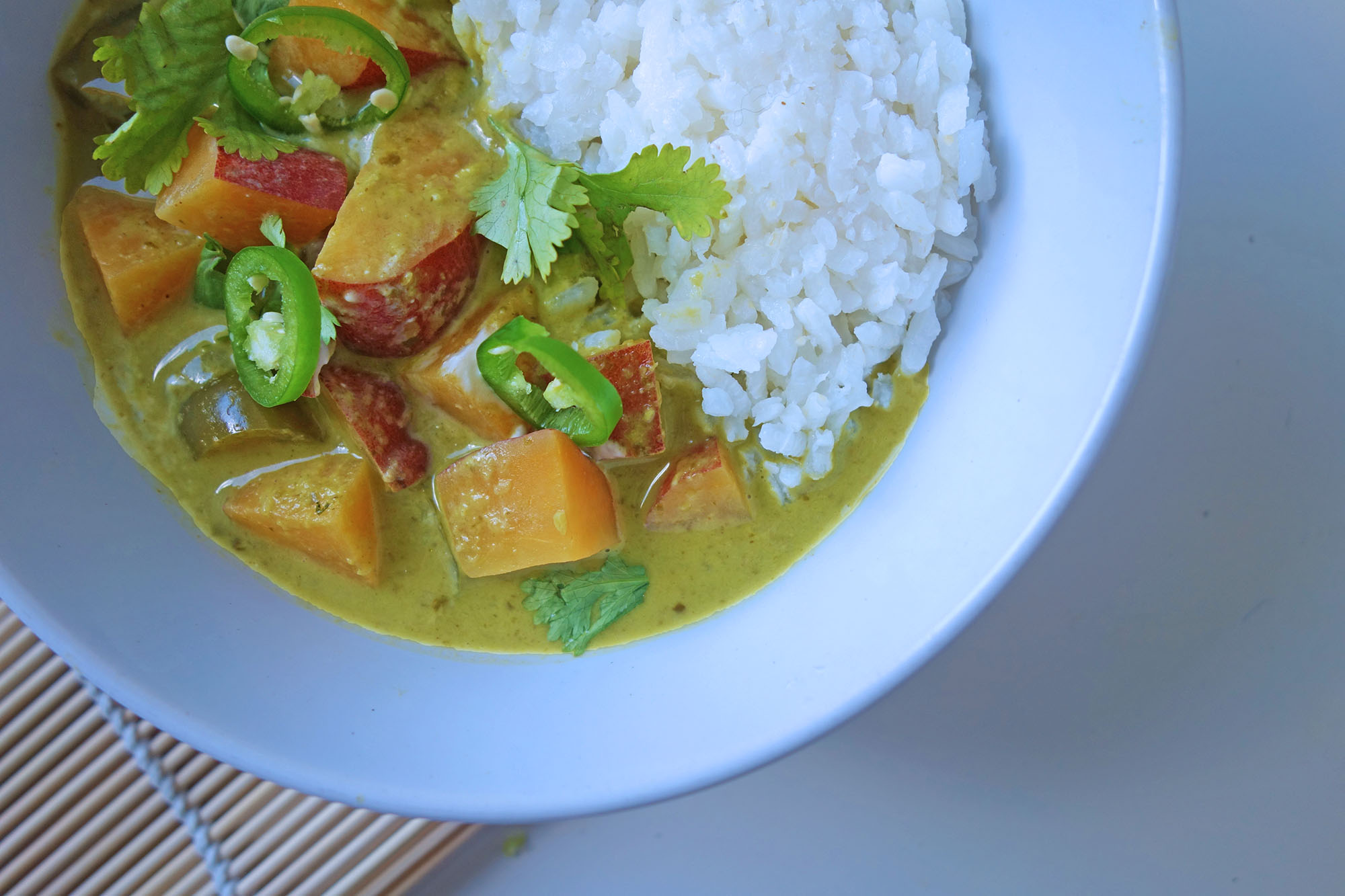 Sweet Potato Green Curry, Recipes, Curry , ideas, recipes, how to make, cook, thai, tess ward