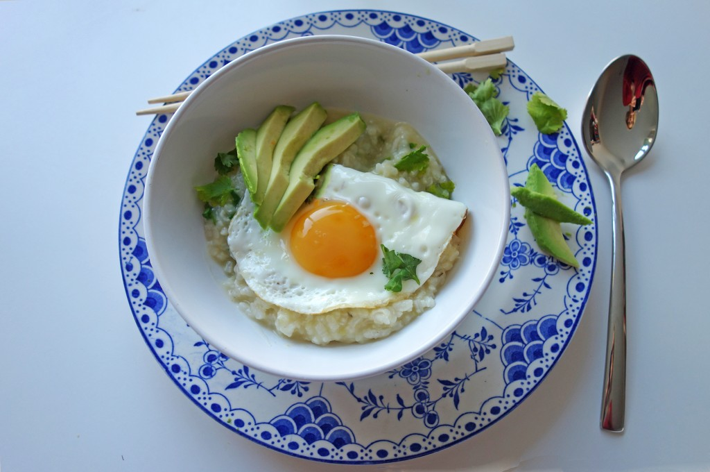 Breakfast Congee with a Fried Egg, Tess Ward