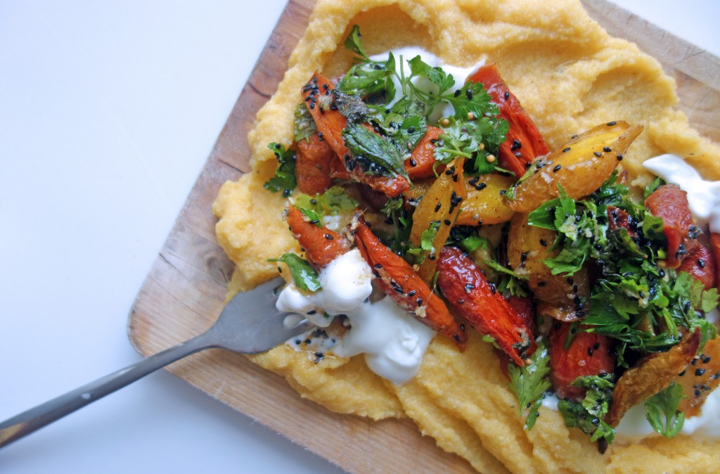 Ginger and Sesame Roasted Carrots with Polenta