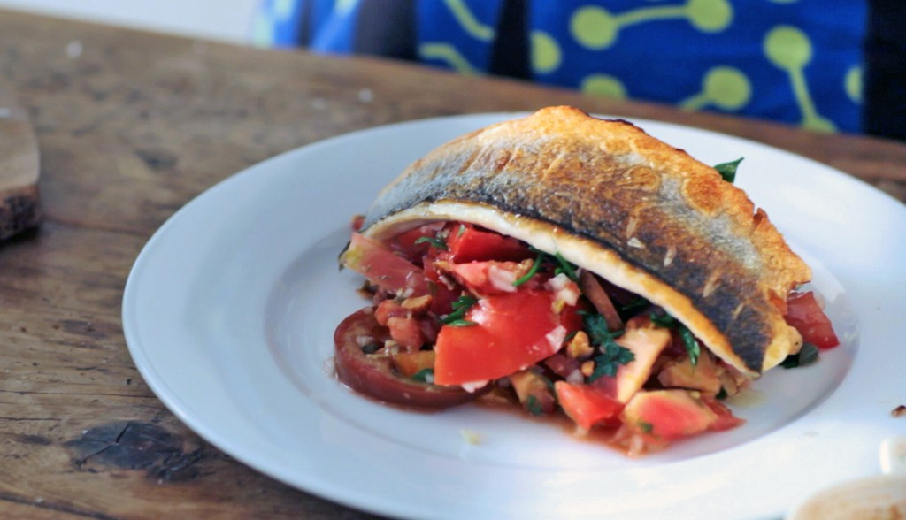 Perfect Crispy-Skinned Sea Bass with Tomato, Caper and Shallot Salad, Tess Ward, Chef