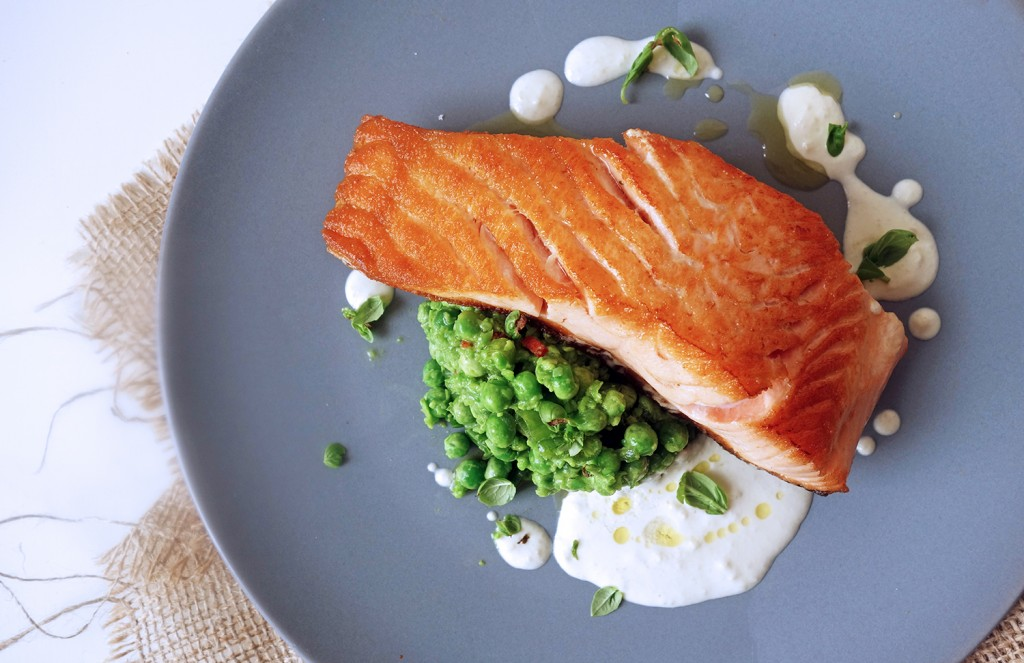 Seared Salmon, Chilli Pea Mash and Smoked Almond Sauce, Tess Ward