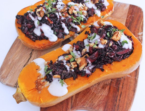 Vegan Stuffed Butternut Squash with Mushrooms and Black Rice