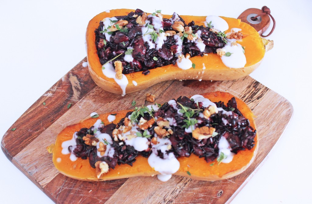 Vegan Stuffed Butternut Squash with Mushrooms and Black Rice, Niomi Smart, Tess Ward, Cooking, Vegan