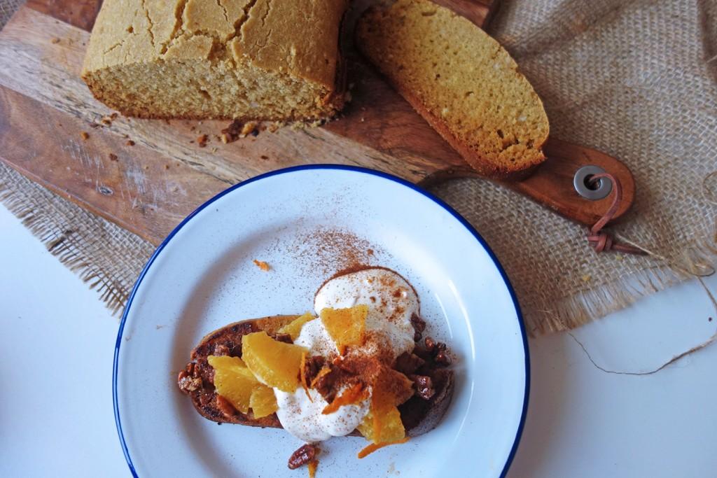 Coconut and Honey Cornbread with Orange and Pecan Salsa, Tess Ward, Recipe, Cornbread, Dairy free, Vegan, Eggs, Sugar free, brunch, Breakfast