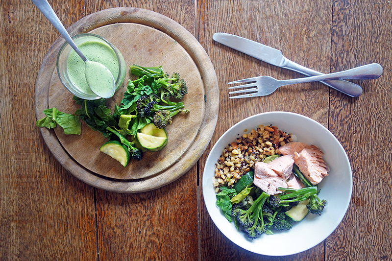 Poached Salmon and Grains with Herb Yoghurt, Tess Ward, Easy, recipe
