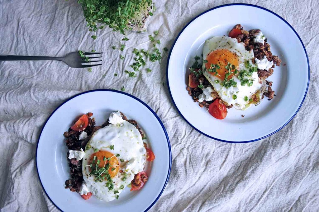 Fried Eggs and Sausage Granola, Tess Ward, Breakfast, Eggs, Healthy, Light