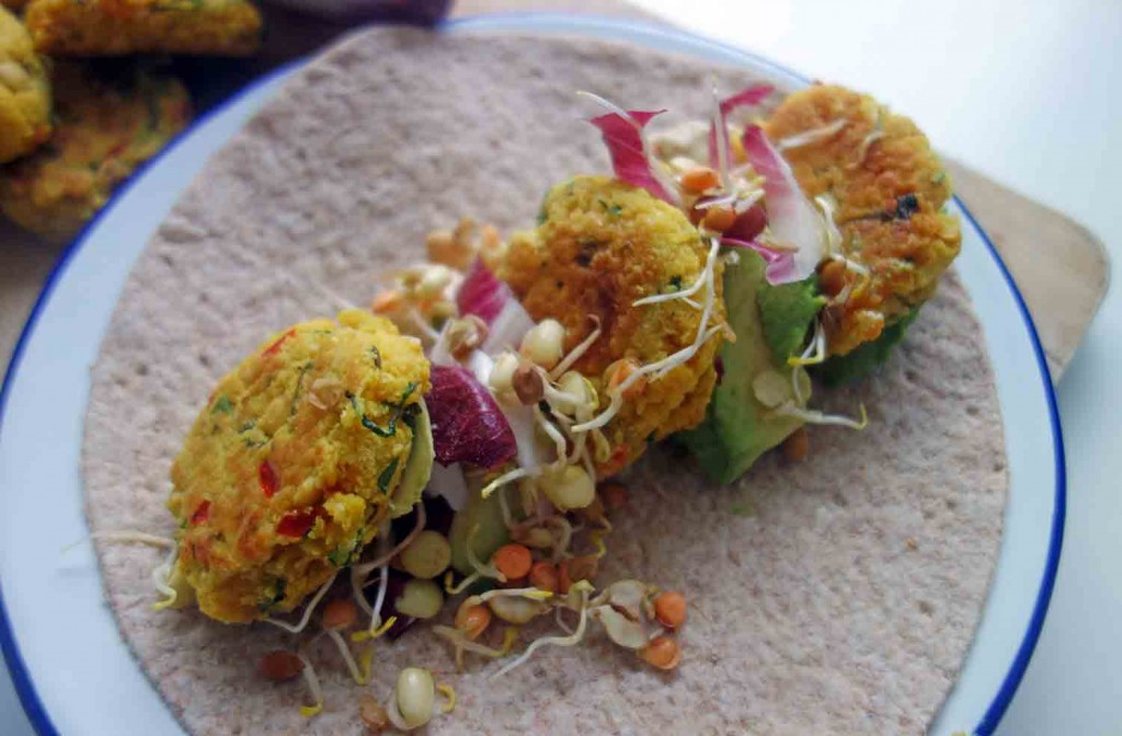 Turmeric Yellow Pea Falafel Wraps, Tess Ward, Recipe, Lunch, Delicious, Vegan, vegan, easy, delicious