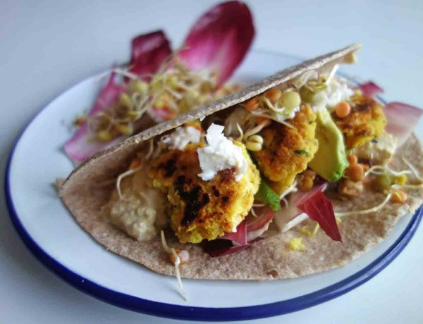 Turmeric Yellow Pea Falafel Wraps, Tess Ward, Recipe, Lunch, Delicious, Vegan