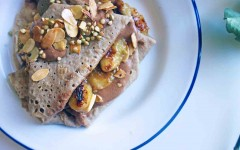 Buckwheat Crepes with Coffee Creme and Almonds