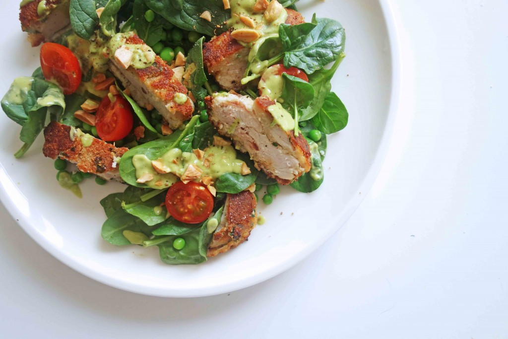 Low Carb Crumbed-Chicken with Avocado Dressing, Tess Ward, Recipe
